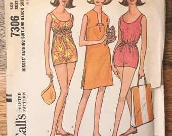 bac21c19d9 60s McCalls 7306 Bathing Suit Swimsuit Pattern