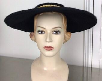 Vintage 50s Black Saucer Hat  a523ebc5c9c