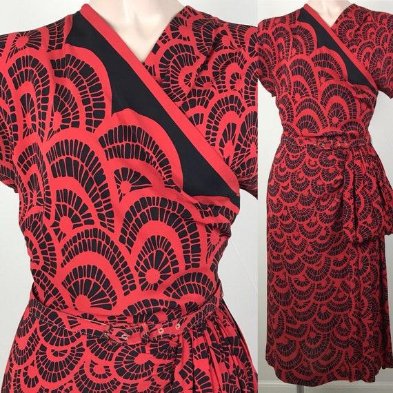 Vintage 40s Leslie Fay Red Amp Black Rayon Geometric Print