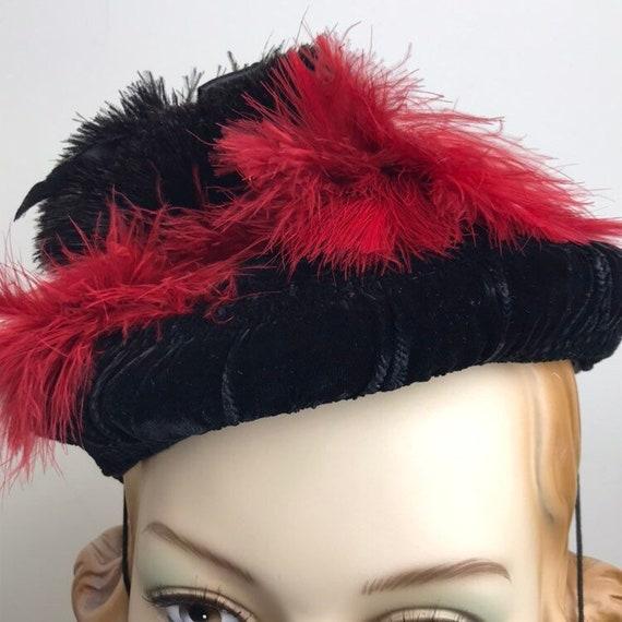 Vintage 30s Smocked Silk Velvet Tilt Hat With Fea… - image 8