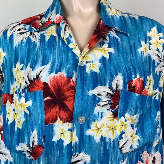 Vintage 40s 50s Mens Penney's Rayon Hawaiian Shirt