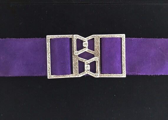 Vintage 60s Purple Suede Boho Hippie Belt
