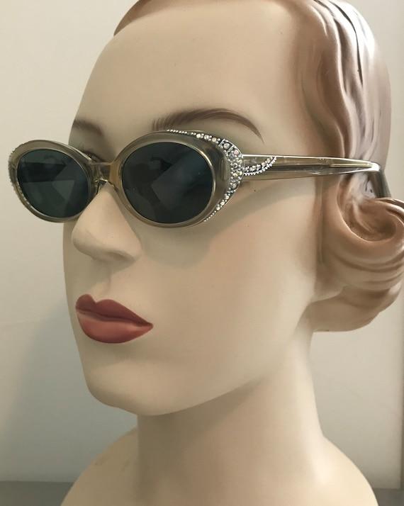 Vintage 50s Grey Pearl Rhinestone Trim Sunglasses