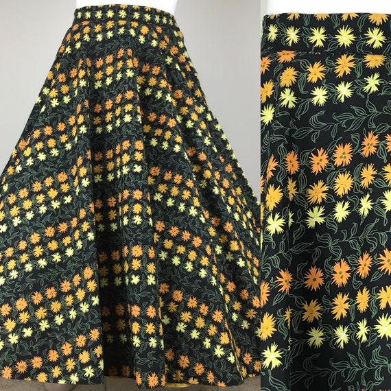 Vintage 50s Marigolds Novelty Print Circle Skirt - image 3