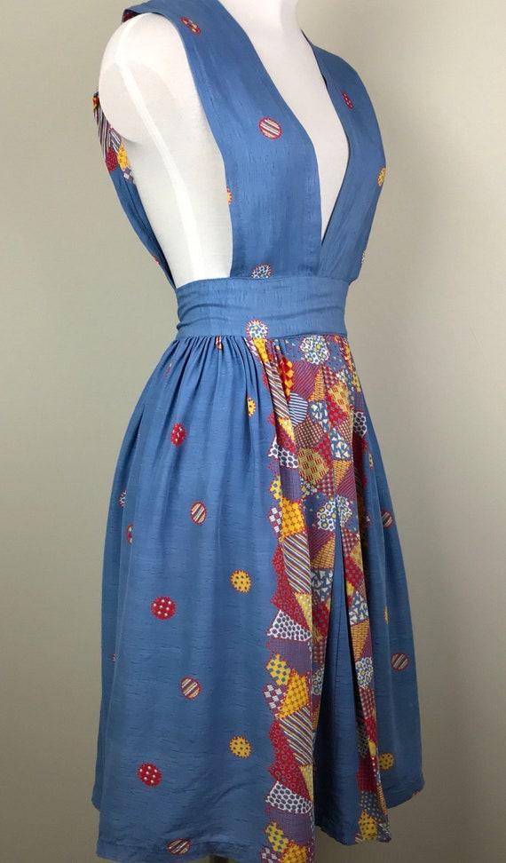 Vintage 40s Rayon Patchwork Print Jumper Dress - image 5