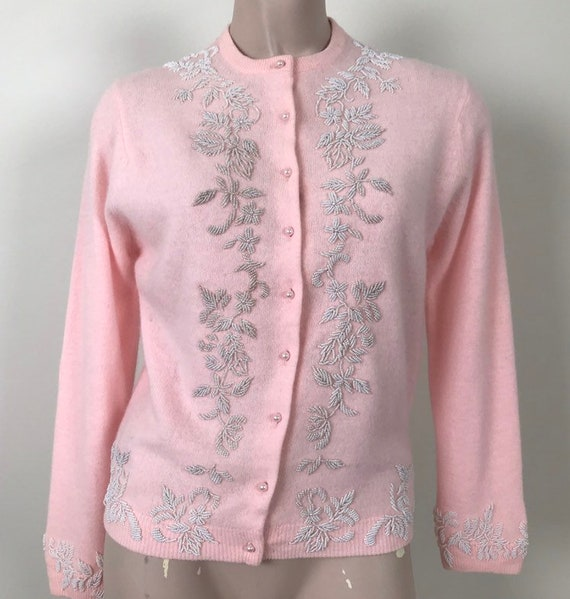 Vintage 50s Pink White Beaded Cardigan Sweater