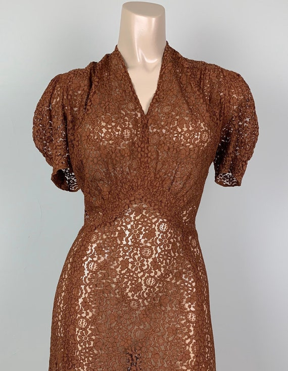 Vintage 30s Lace Puff Puffed Sleeve Dress
