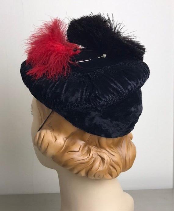 Vintage 30s Smocked Silk Velvet Tilt Hat With Fea… - image 3