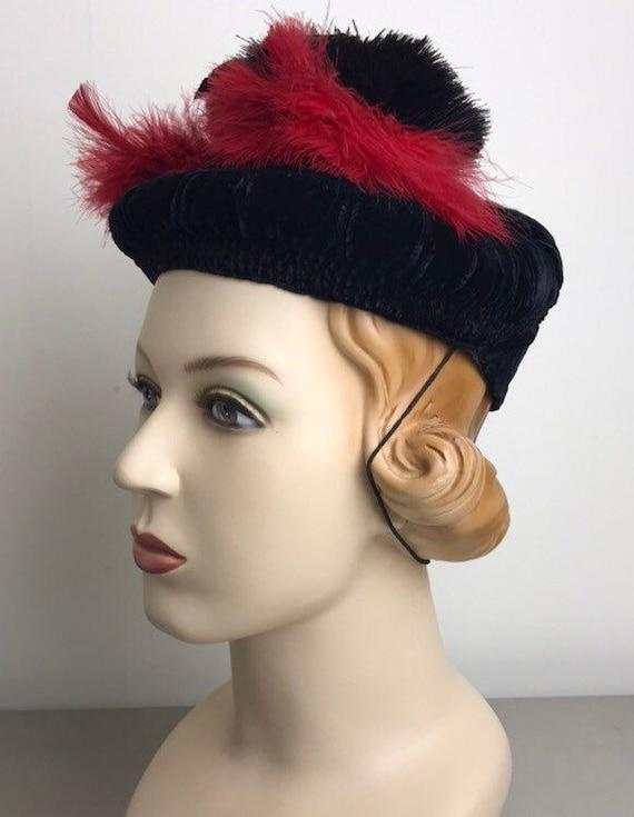 Vintage 30s Smocked Silk Velvet Tilt Hat With Fea… - image 9