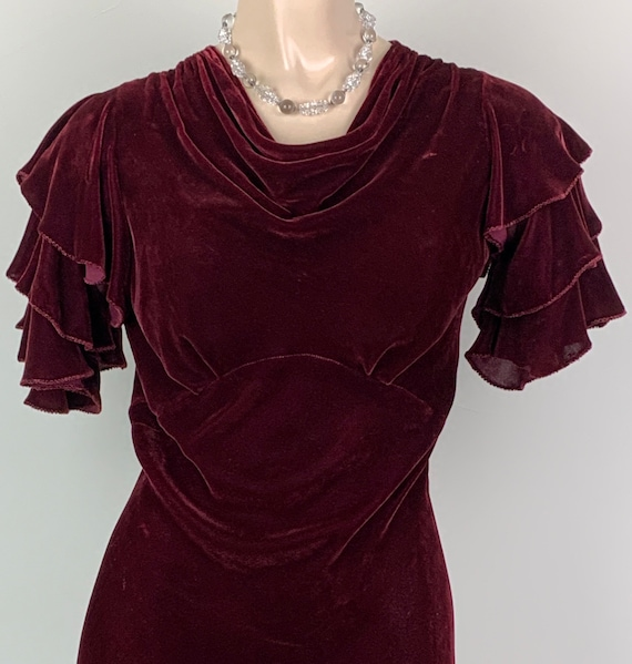 Vintage 30s Burgundy Silk Velvet Flutter Sleeve Dr