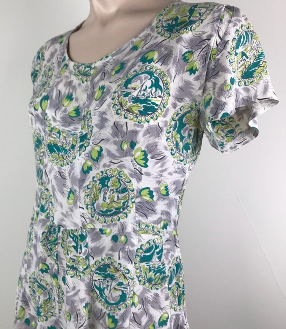 Vintage 40s Rayon Crepe Novelty Print Dress - image 4