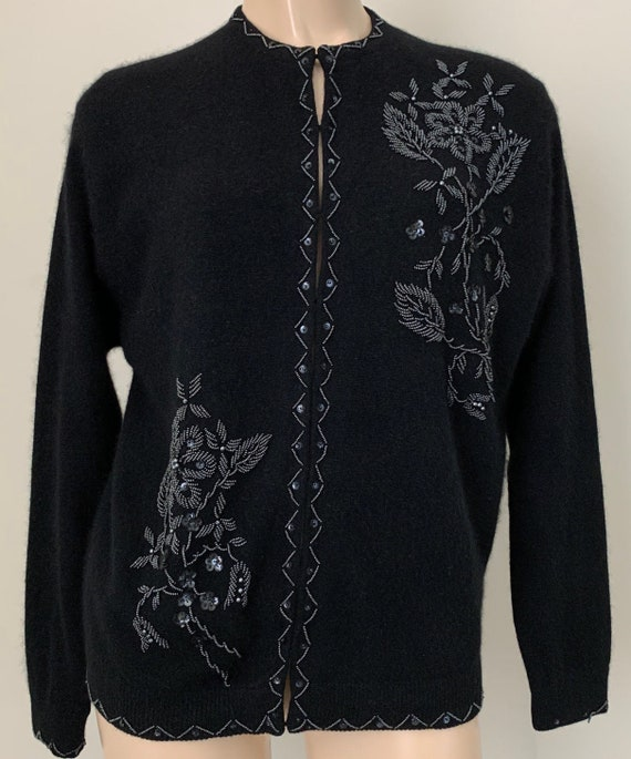 Pin Up Rockabilly Sweater 50s Hand Beaded Lambswool Button Down Sweater Sz S-M 40/'s 50/'s Cashmere Glass Beaded Angora Cardigan