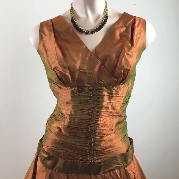 Vintage 50s Copper Party Dress Formal Dress - image 2