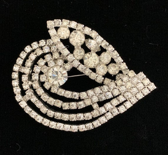 Huge Vintage 50s Rhinestone Brooch Pin