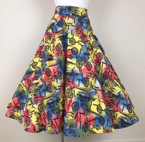 Vintage 50s Novelty Siamese Print Circle Skirt - image 3