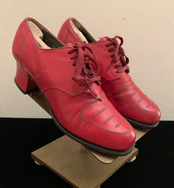 Vintage 30s 40s Red Lace Up Oxford Heels