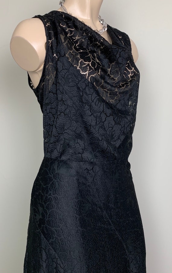 Vintage 20s 30s Art Deco Black Lace Dress - image 2