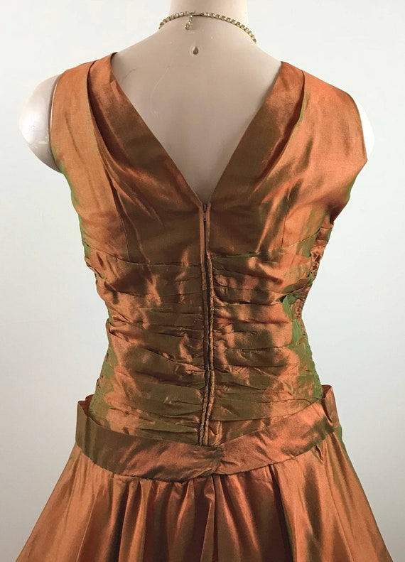 Vintage 50s Copper Party Dress Formal Dress - image 5