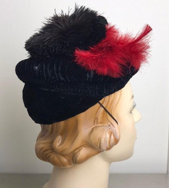 Vintage 30s Smocked Silk Velvet Tilt Hat With Fea… - image 4