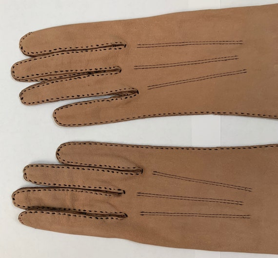 Vintage 50s Webbs England Topstiched Leather Glove