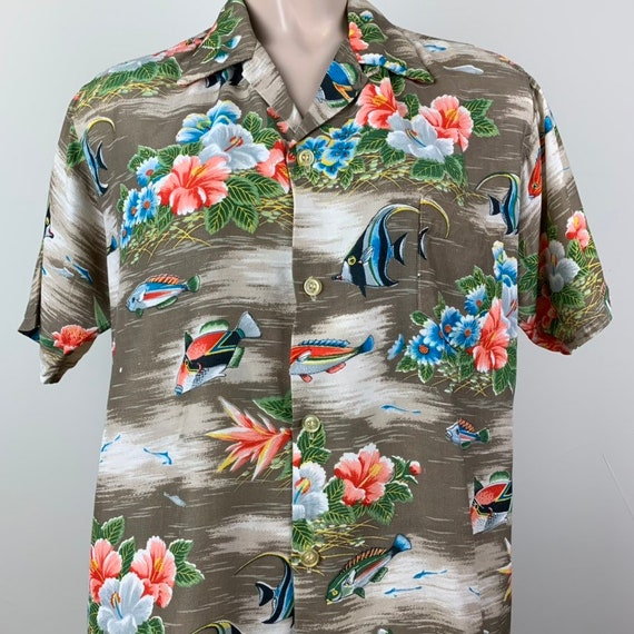 Vintage 50s Mens Aloha Rayon Hawaiian Shirt