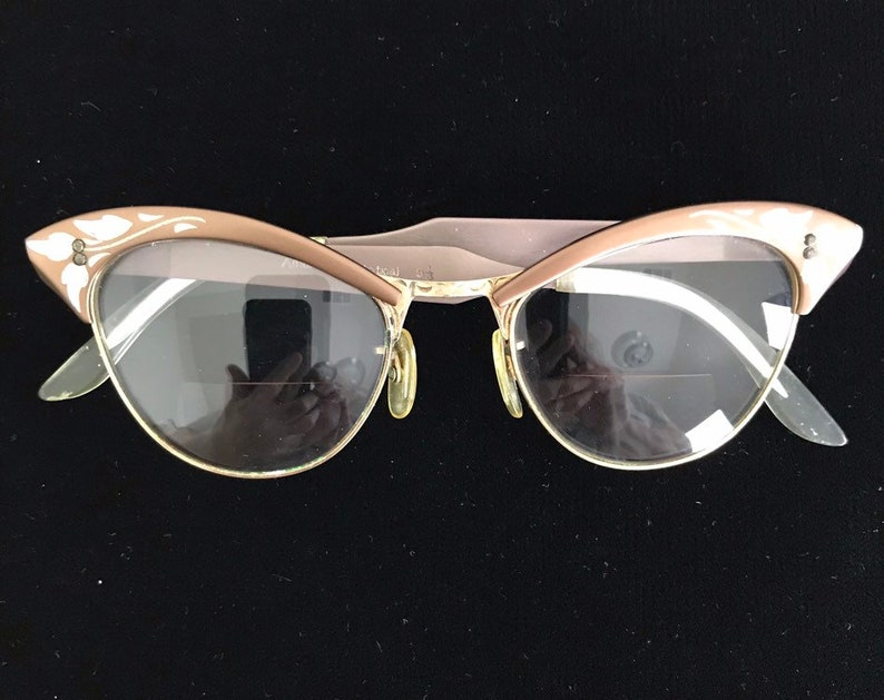 806f74514e5a1 Vintage 50s Bronze Cat Eye Glasses