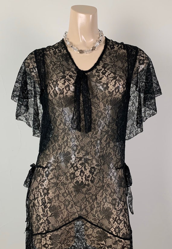 Vintage 20s 30s Black Lace Capelet Dress