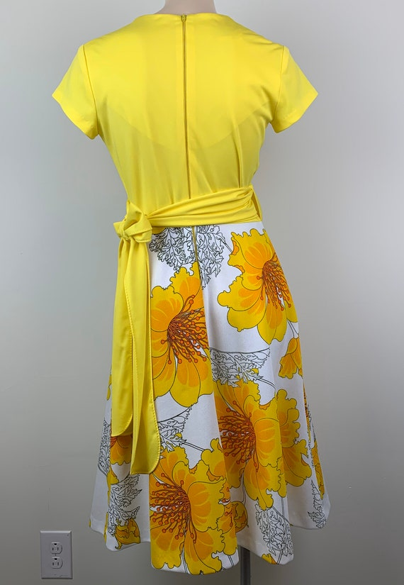 Vintage 70s Alfred Shaheen Yellow Wrap Dress - image 6