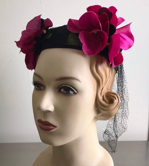 Vintage 30s Black Straw Hat With Hot Pink Flowers