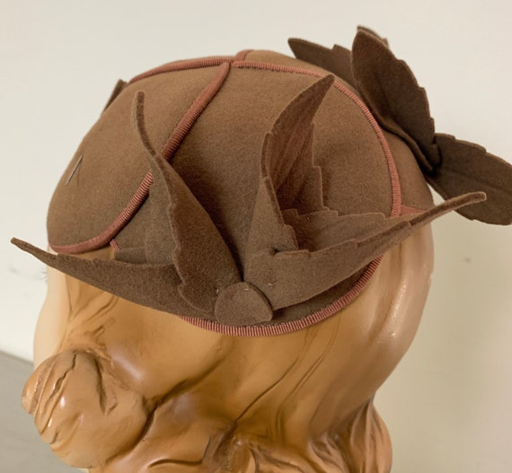 Vintage 30s Brown Cloche Hat Skull Cap - image 7