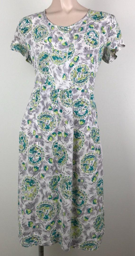 Vintage 40s Rayon Crepe Novelty Print Dress - image 7