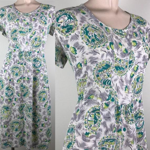 Vintage 40s Rayon Crepe Novelty Print Dress - image 2