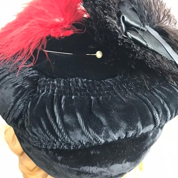 Vintage 30s Smocked Silk Velvet Tilt Hat With Fea… - image 7