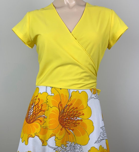 Vintage 70s Alfred Shaheen Yellow Wrap Dress - image 1