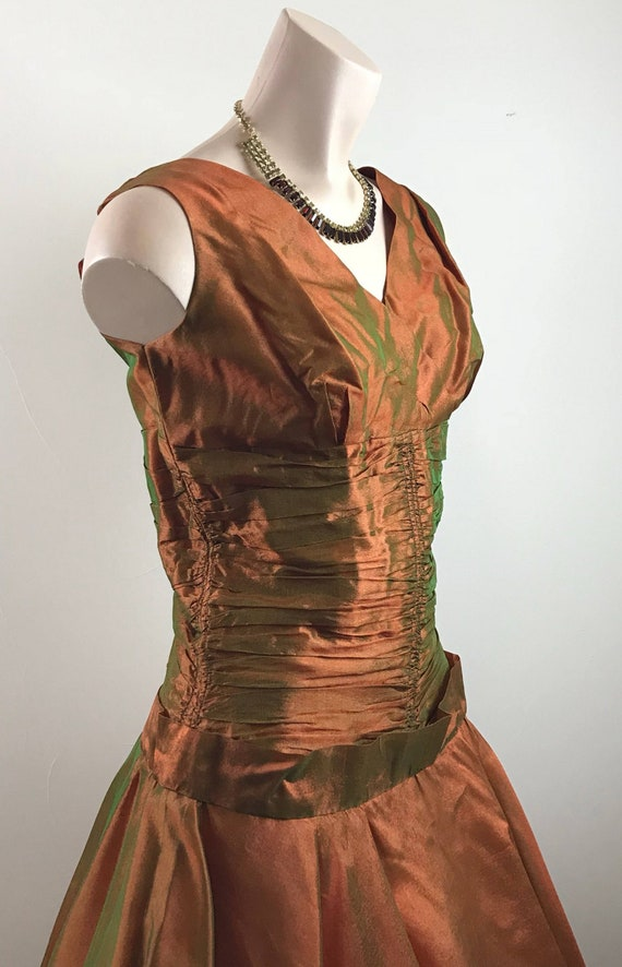 Vintage 50s Copper Party Dress Formal Dress - image 3