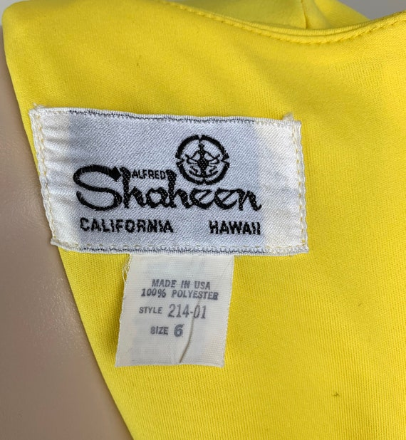 Vintage 70s Alfred Shaheen Yellow Wrap Dress - image 7