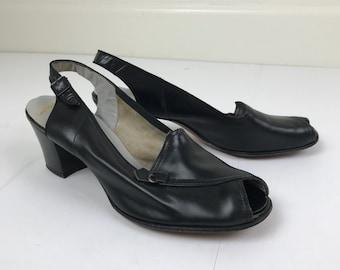 Vintage 1940s Black Leather Slingback Low Heels Size 7