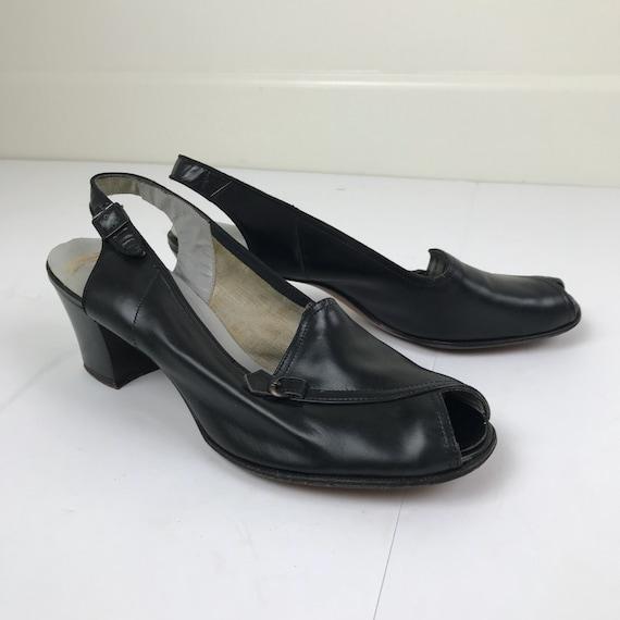 Vintage 40s Slingback Low Heels Size 7