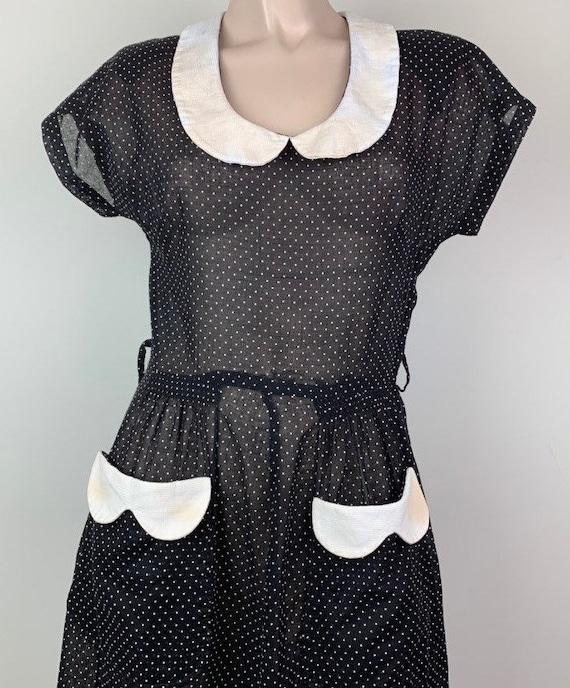 Vintage 40s Black & White Dotted Swiss Dress