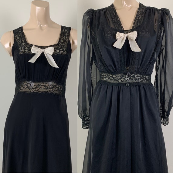 Vintage 40s Black Rayon Nylon Peignoir Set Lingeri