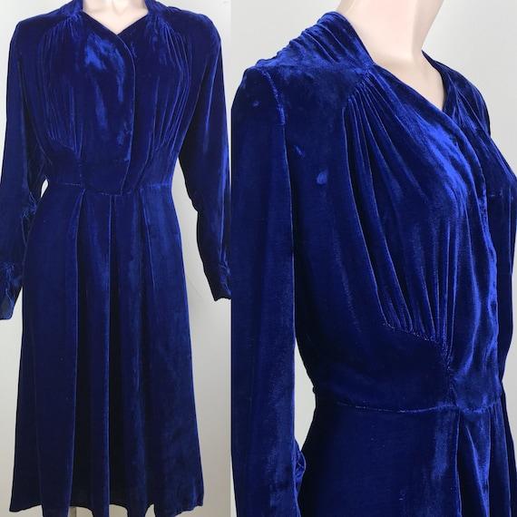Vintage 40s Blue Silk Velvet Dress