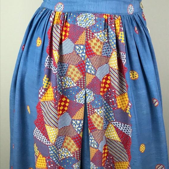 Vintage 40s Rayon Patchwork Print Jumper Dress - image 10