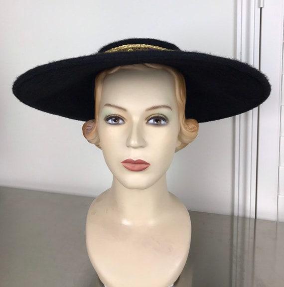 Vintage 50s Black Saucer Hat | Platter Hat