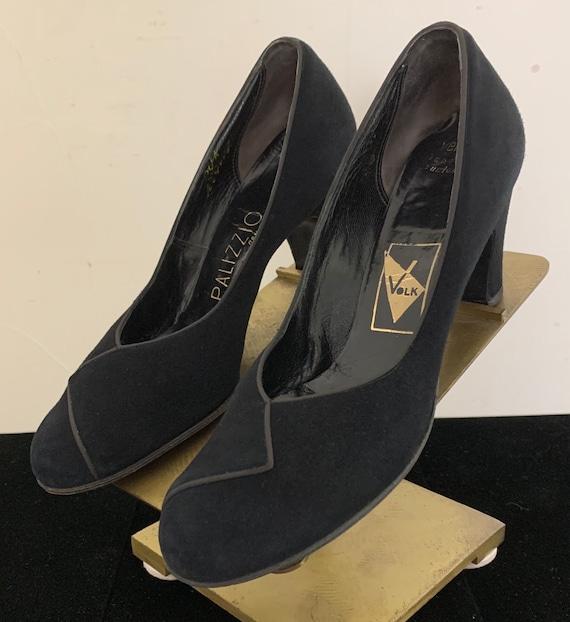 Vintage 40s Palizzio Black Suede Heels