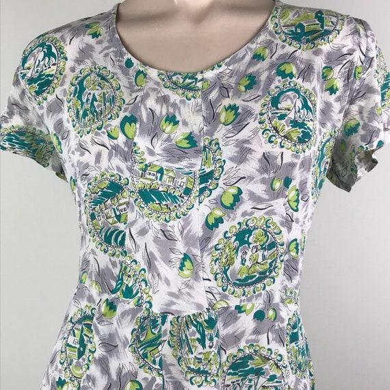 Vintage 40s Rayon Crepe Novelty Print Dress - image 1
