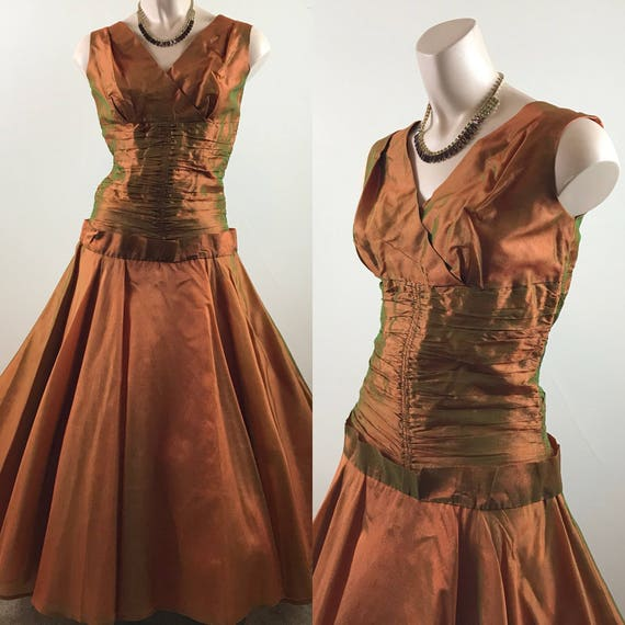 Vintage 50s Copper Party Dress Formal Dress - image 1