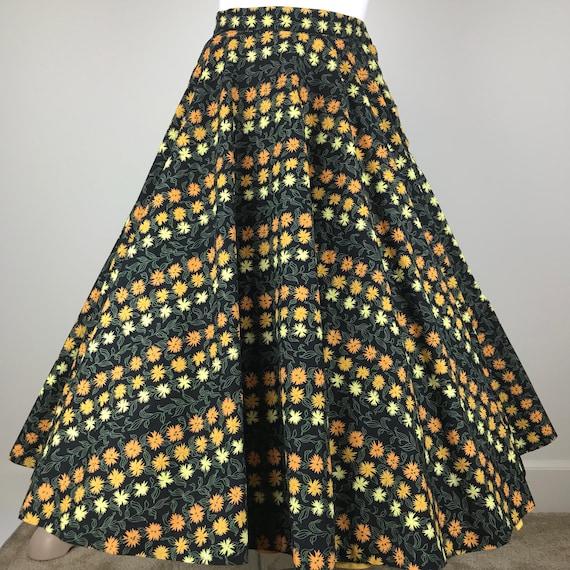 Vintage 50s Marigolds Novelty Print Circle Skirt