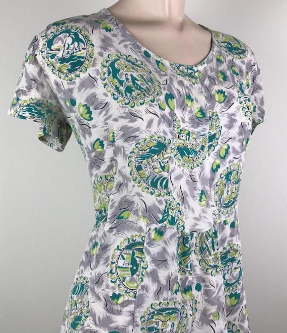 Vintage 40s Rayon Crepe Novelty Print Dress - image 5