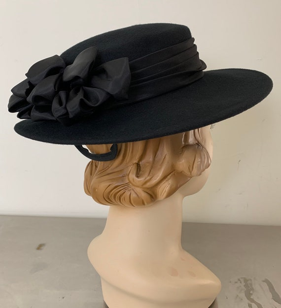 Vintage 40s Black Wide Brim Hat