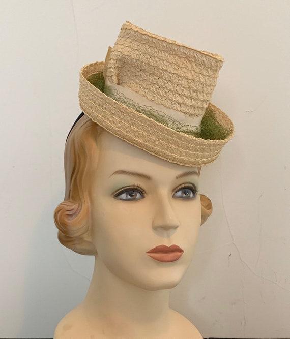 Vintage 30s 40s Straw Tilt Hat Fascinator Hat